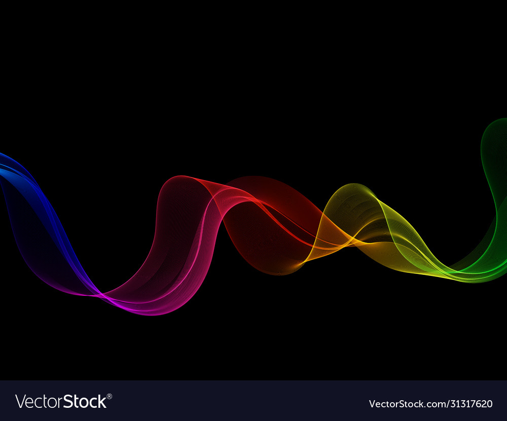 Neon smooth bright rainbow wave on a black