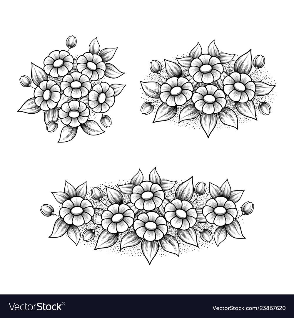 Outline daisy elements set