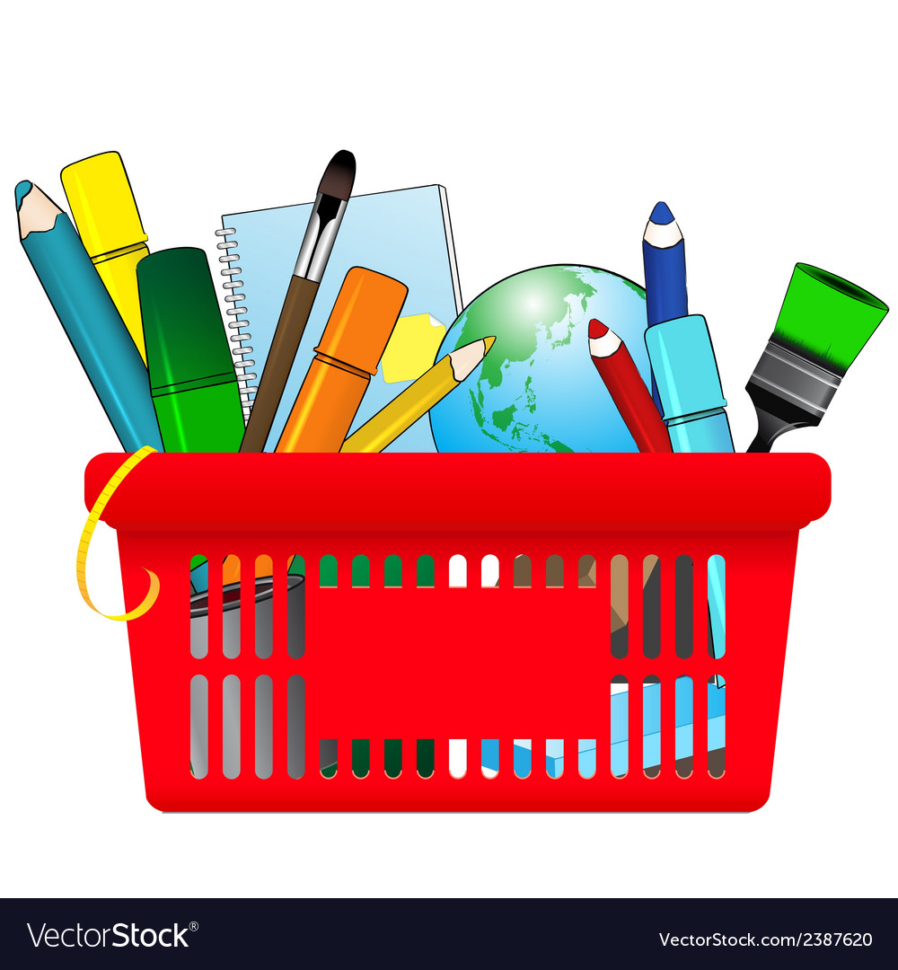 Shopping card with school supplies