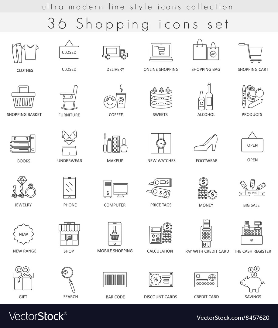 Shopping ultra modern outline line icons