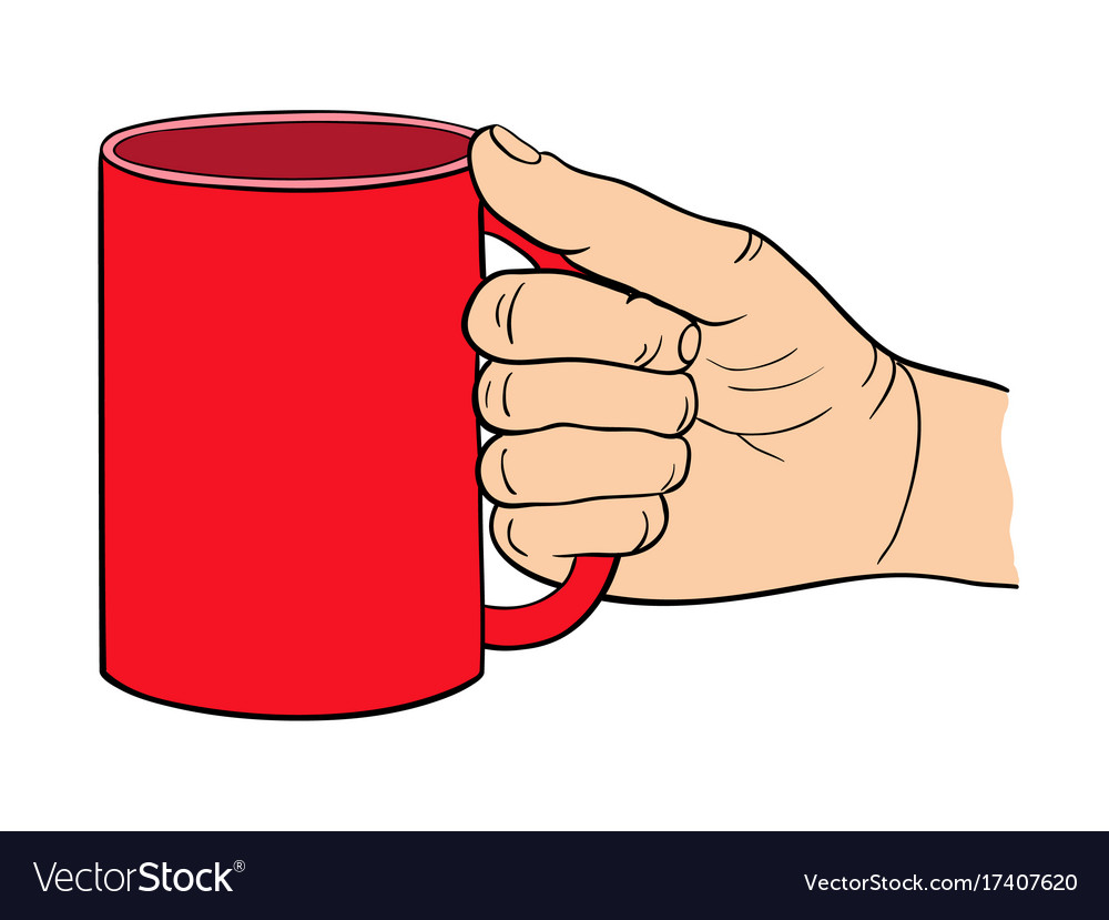 The hand holds the cup
