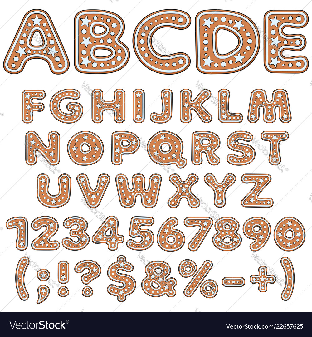 Alphabet letters numbers signs of gingerbread