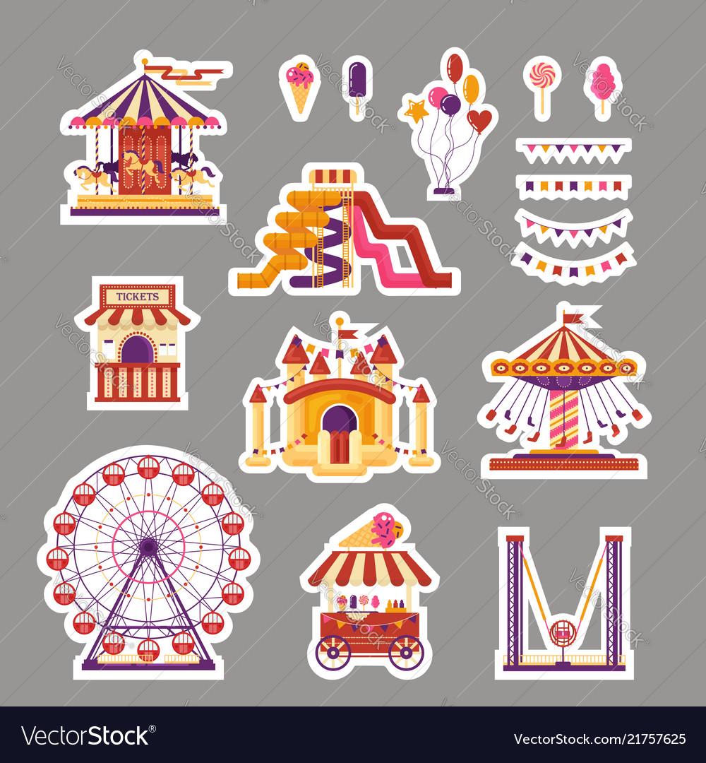 Amusement park flat elements sticker with