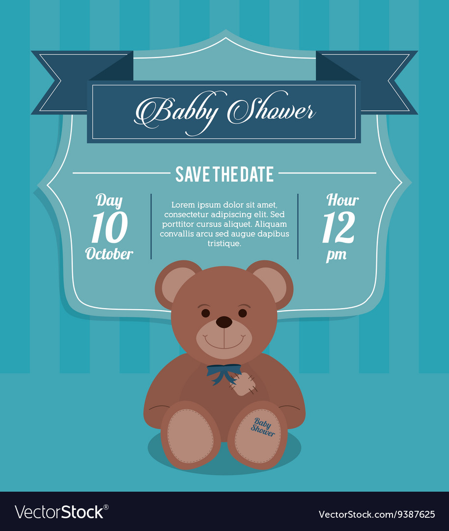 Baby Shower design teddy bear icon Blue