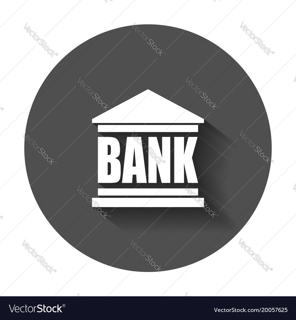 Bank building icon in flat style museum with long