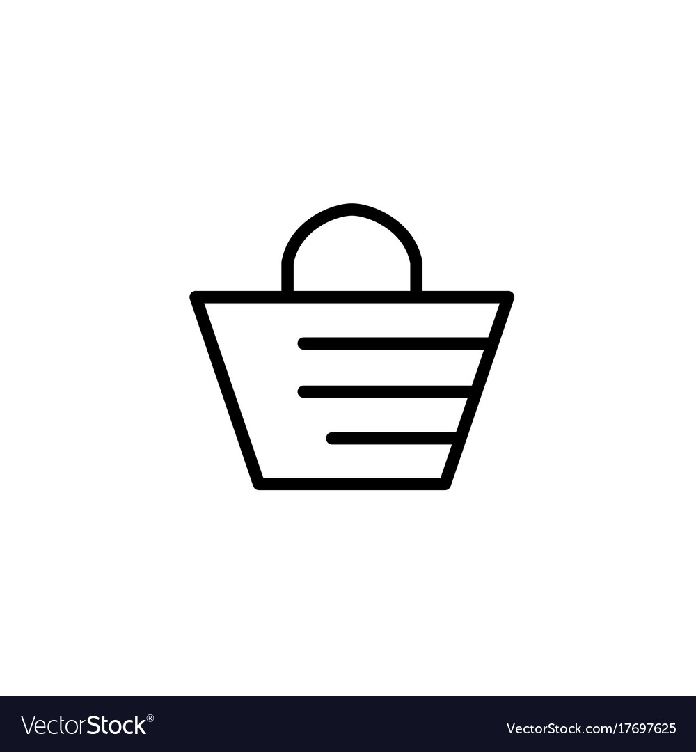 Beach bag icon thin line black on white background vector image