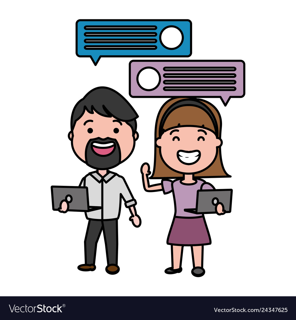 Couple with laptop and speech bubble