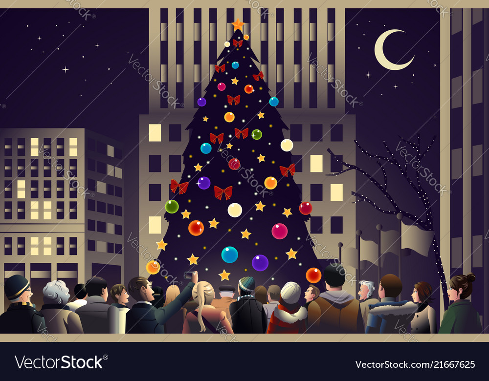 crowd in the city near big lighted christmas tree vector image