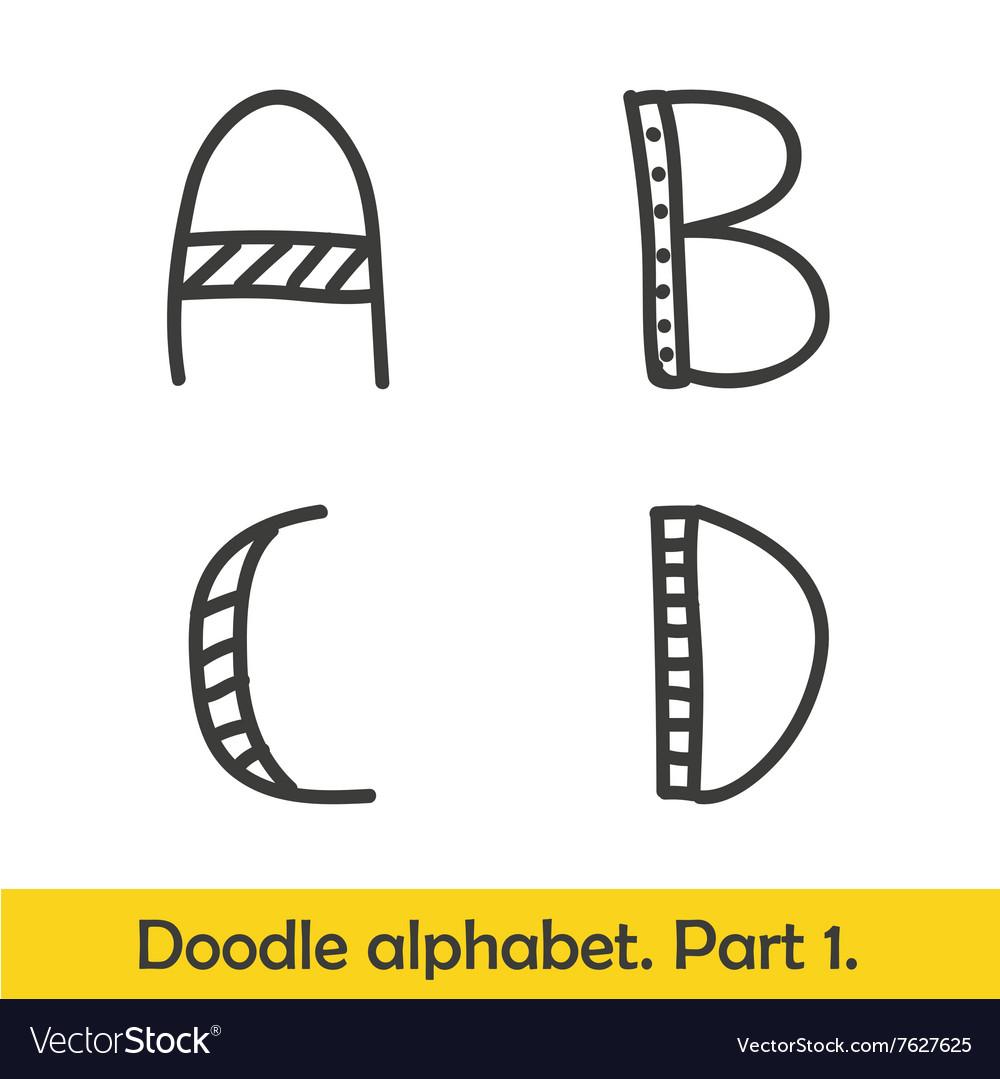Cute hand drawn alphabet doodle letters A-D