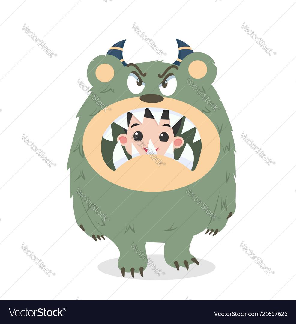 Cute kid halloween character in angry cute