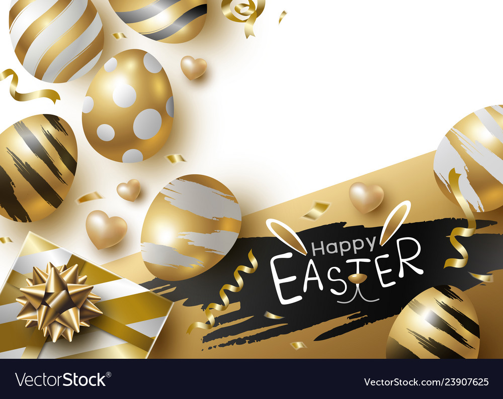 Easter day design gold eggs and giftbox vector