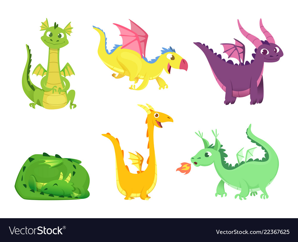 Fantasy dragons cute reptiles amphibians and