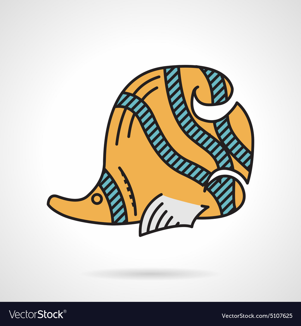 Flat design icon for yellow coralfish vector image