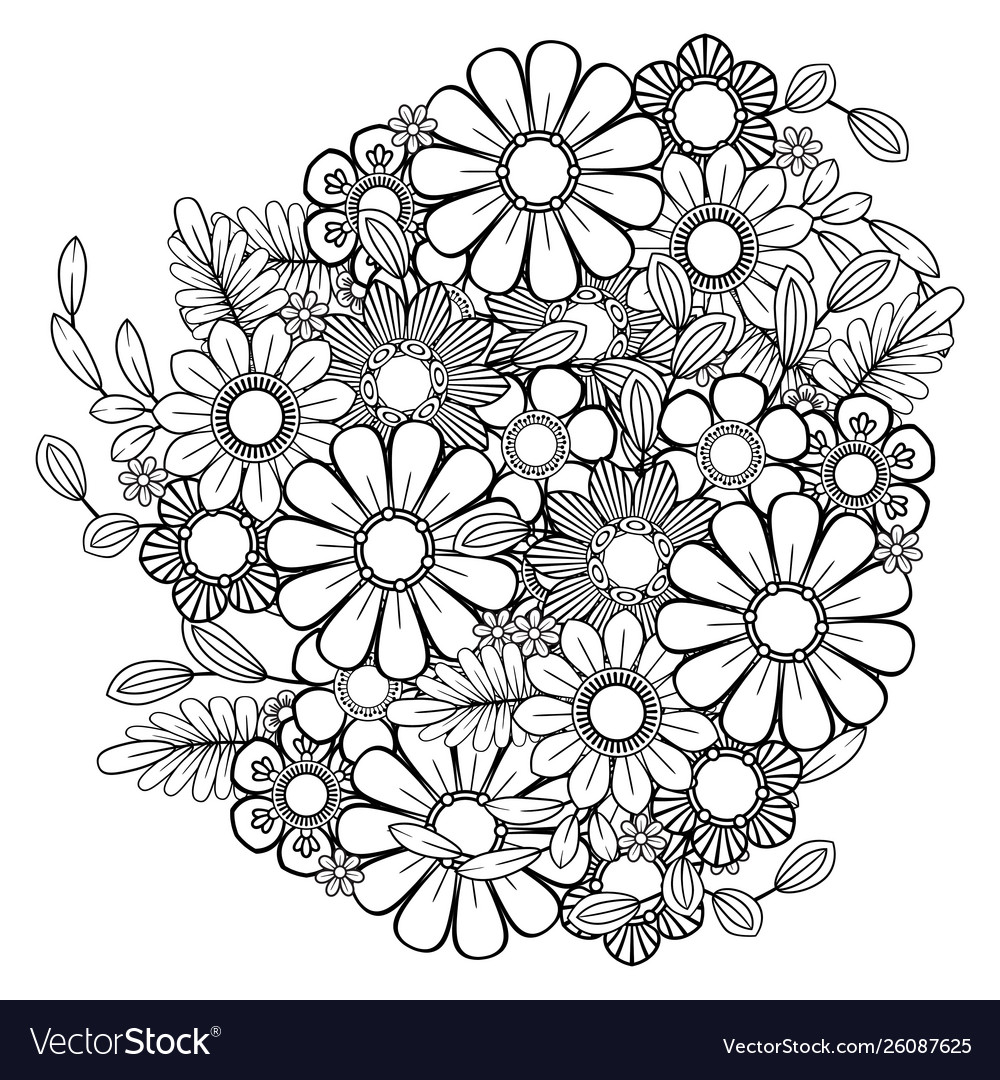 - Floral Coloring Page Royalty Free Vector Image
