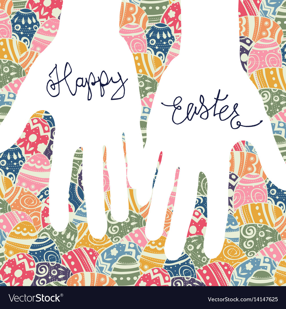 Happy easter greeting card easter eggs pattern