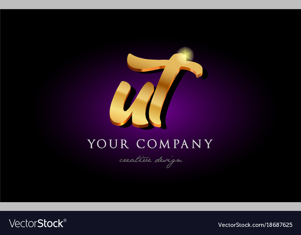 Ut u t 3d gold golden alphabet letter metal logo