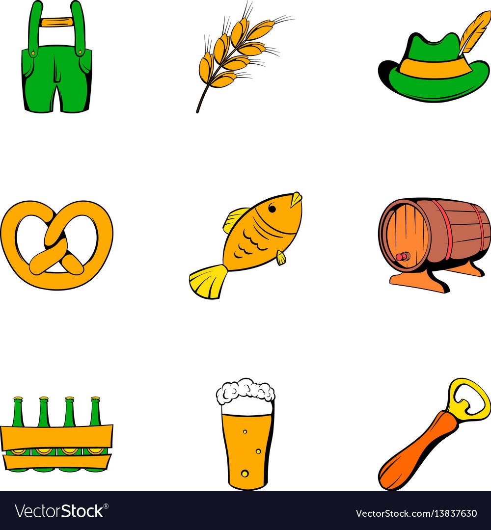 Autumn celebration icons set cartoon style