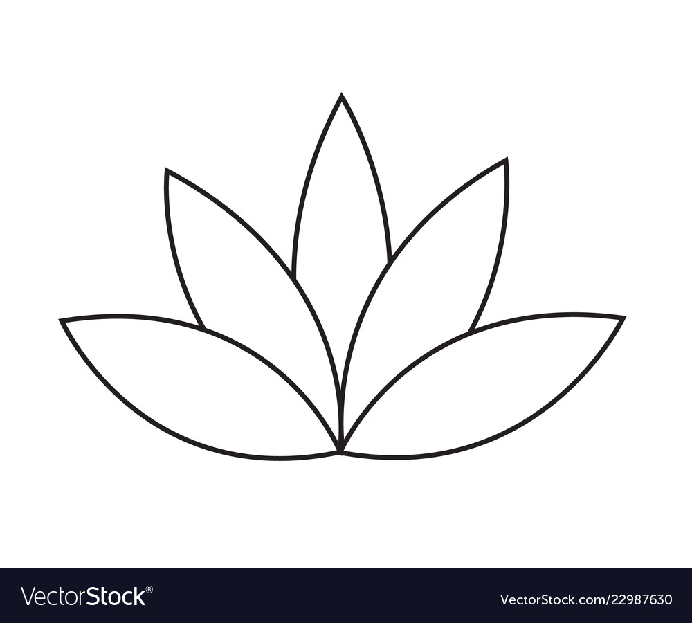 Black Outline Simple Lotus Or Water Lily Flower Vector Image