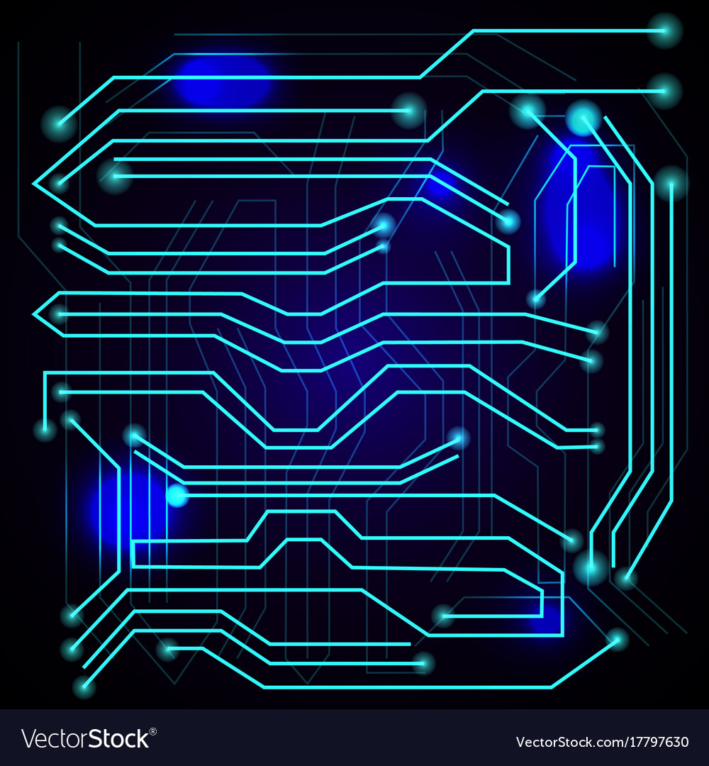 Blue Background With High Tech Circuit Board Vector Image Abstract Old Computer