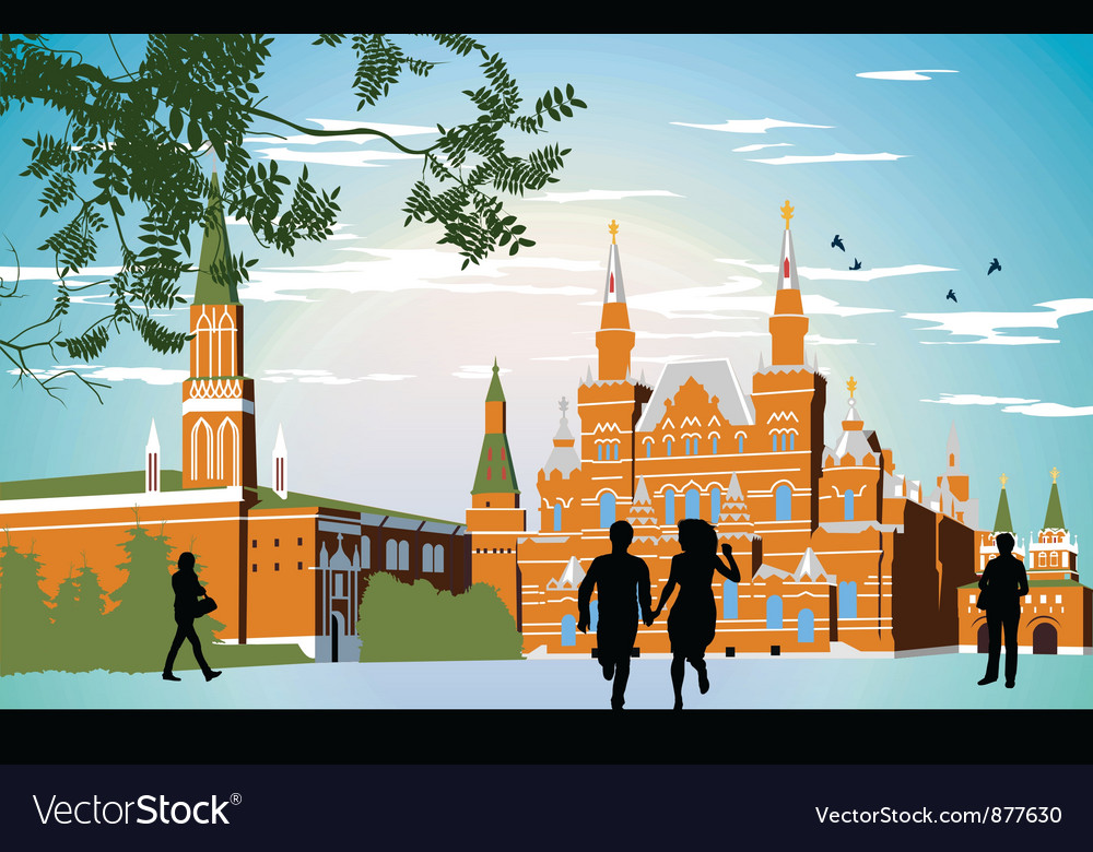 Boy and girl running in the red Square hand in