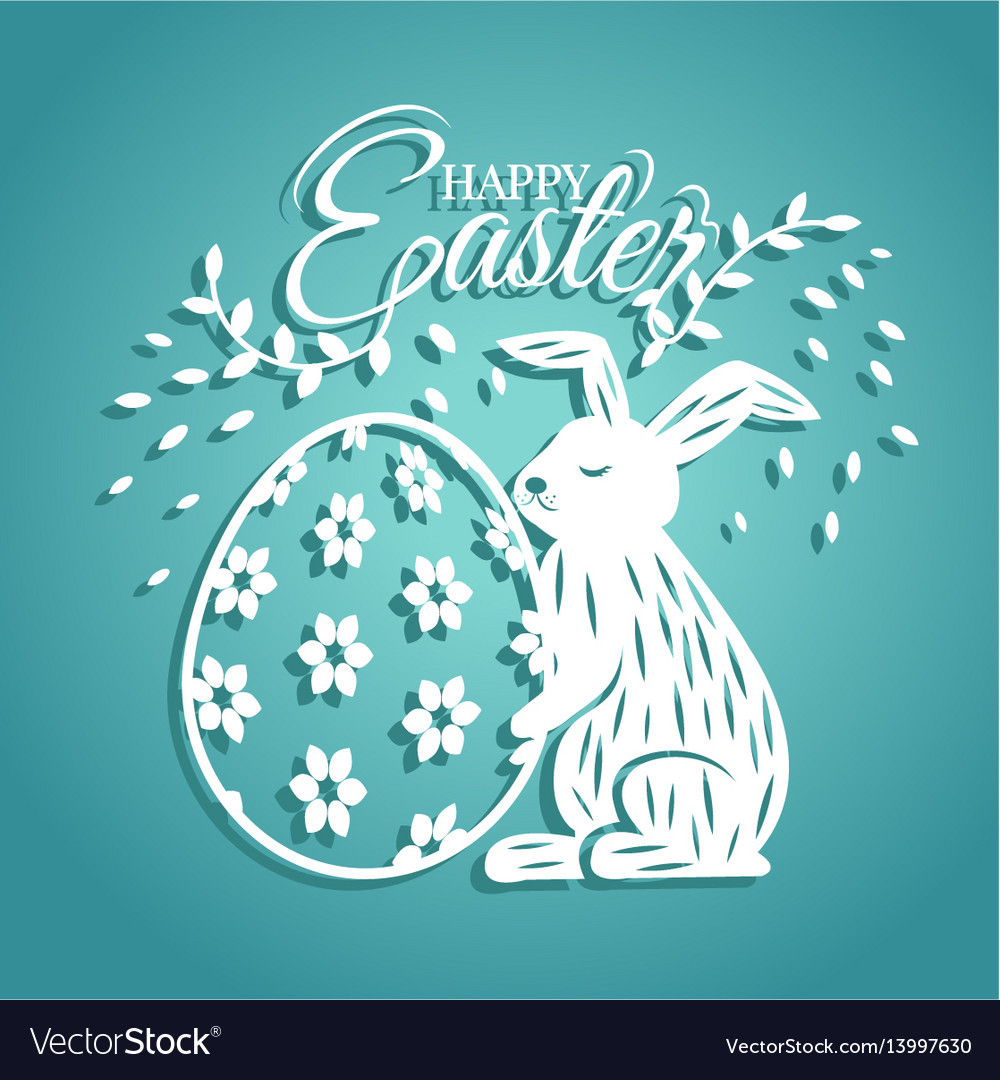 Bunny and egg for easter day greeting card