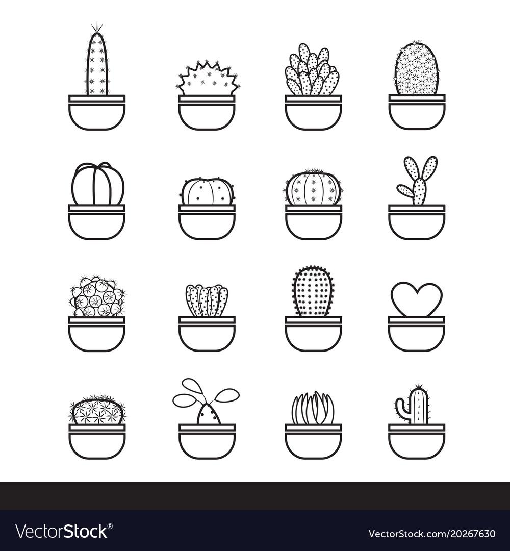 Cactus line black icon set