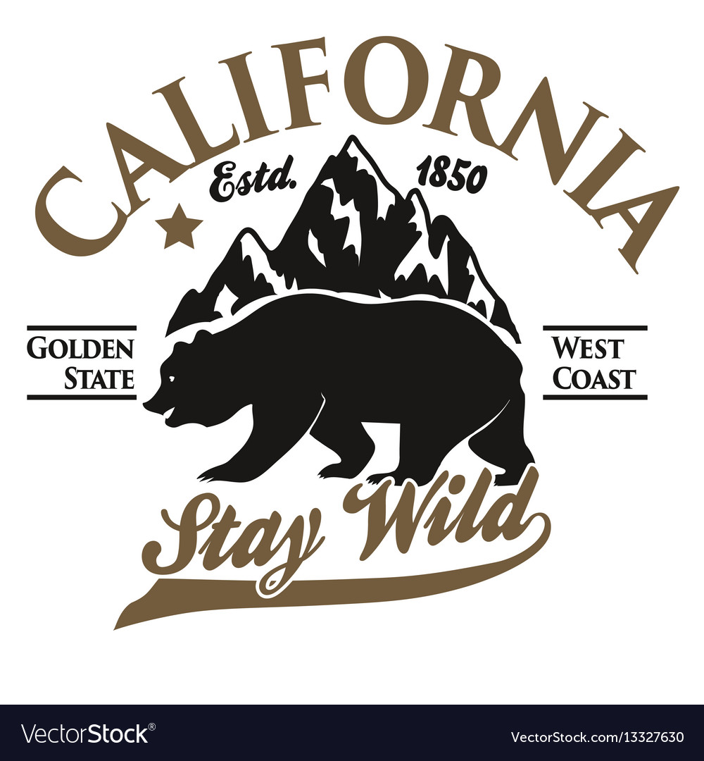 California Typography Print Grizzly Bear T Shirt Vector Image