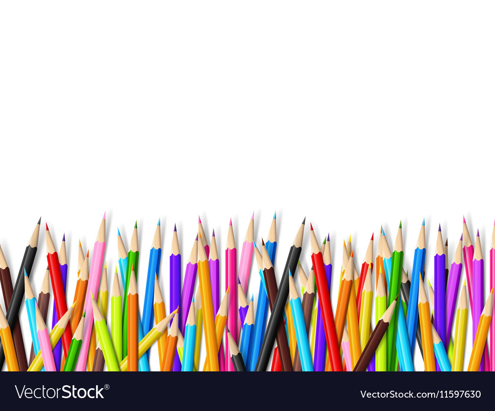 Color pencil on white background with copy space