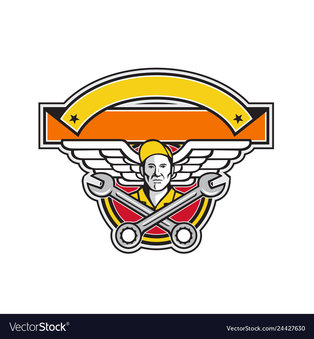 Crew chief crossed spanner army wings banner icon