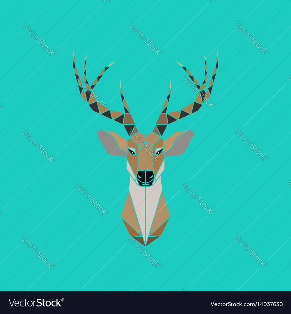 Deer head abstract isolated on a green backgrounds