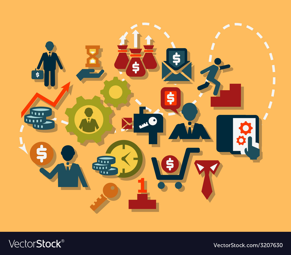 Flat business icons set vector image