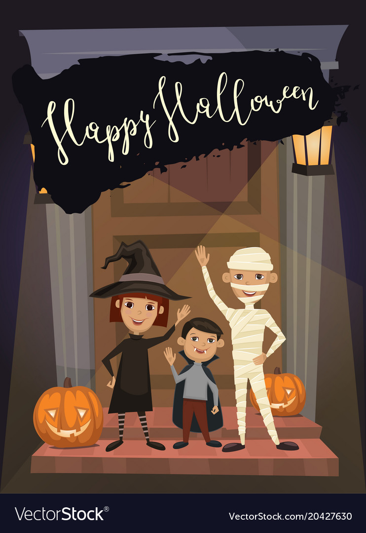 halloween party banner with kids in costumes vector image