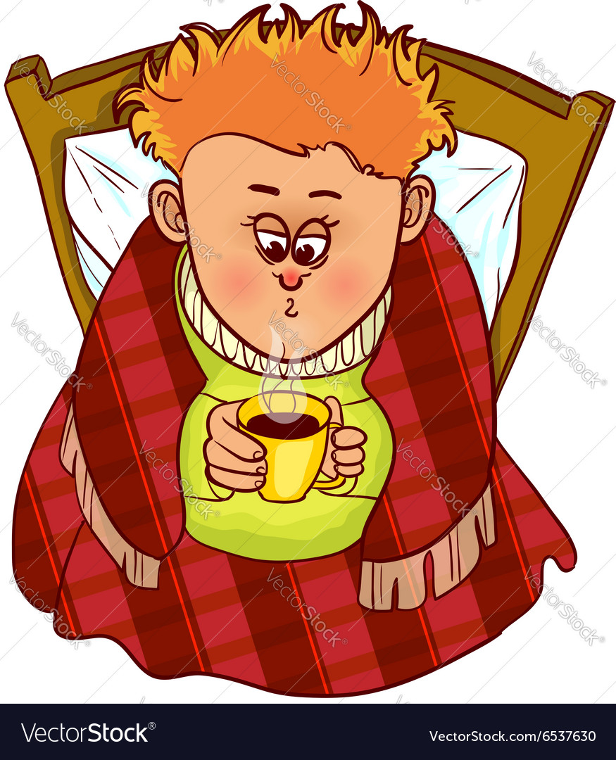 Little freezing man drinks hot drink in bed