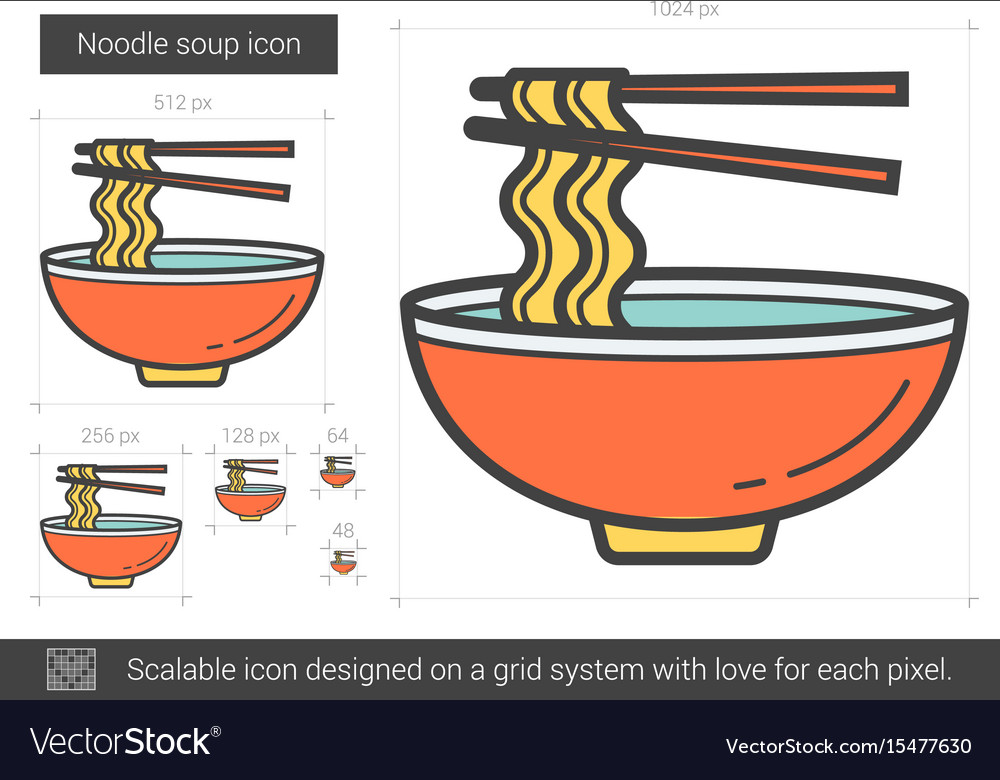 Noodle Soup Line Icon Royalty Free Vector Image