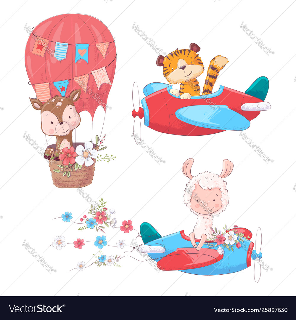 Set cartoon cute animals tiger deer and llama on