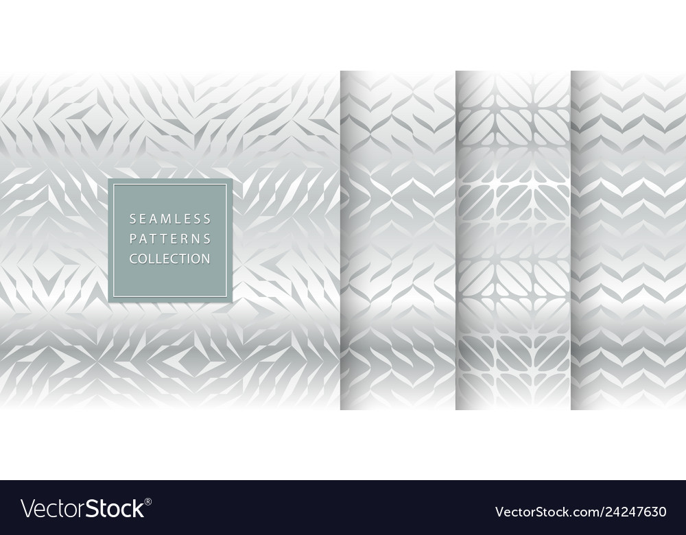 Set of silver seamless pattern texture