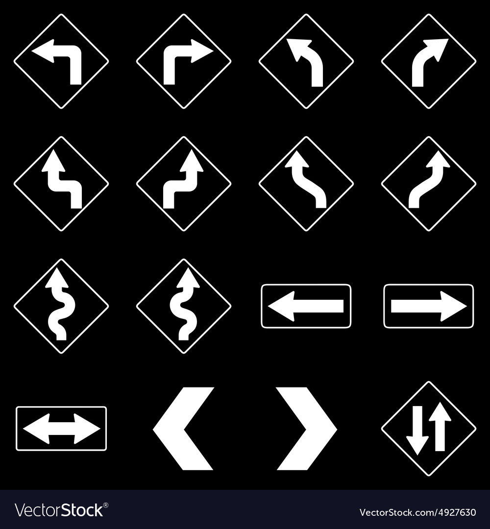 Set of white road traffic signs