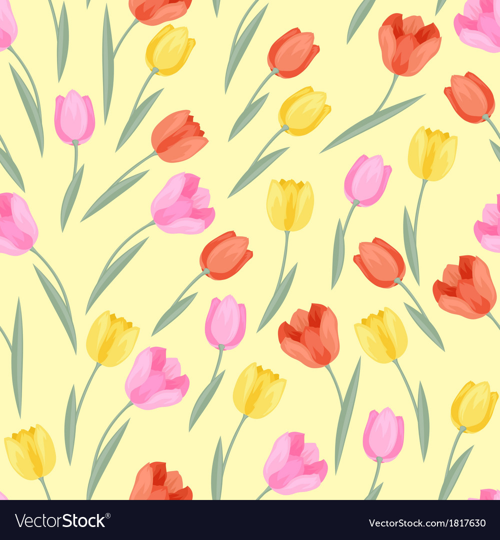 Spring flowers tulips natural seamless pattern vector image mightylinksfo