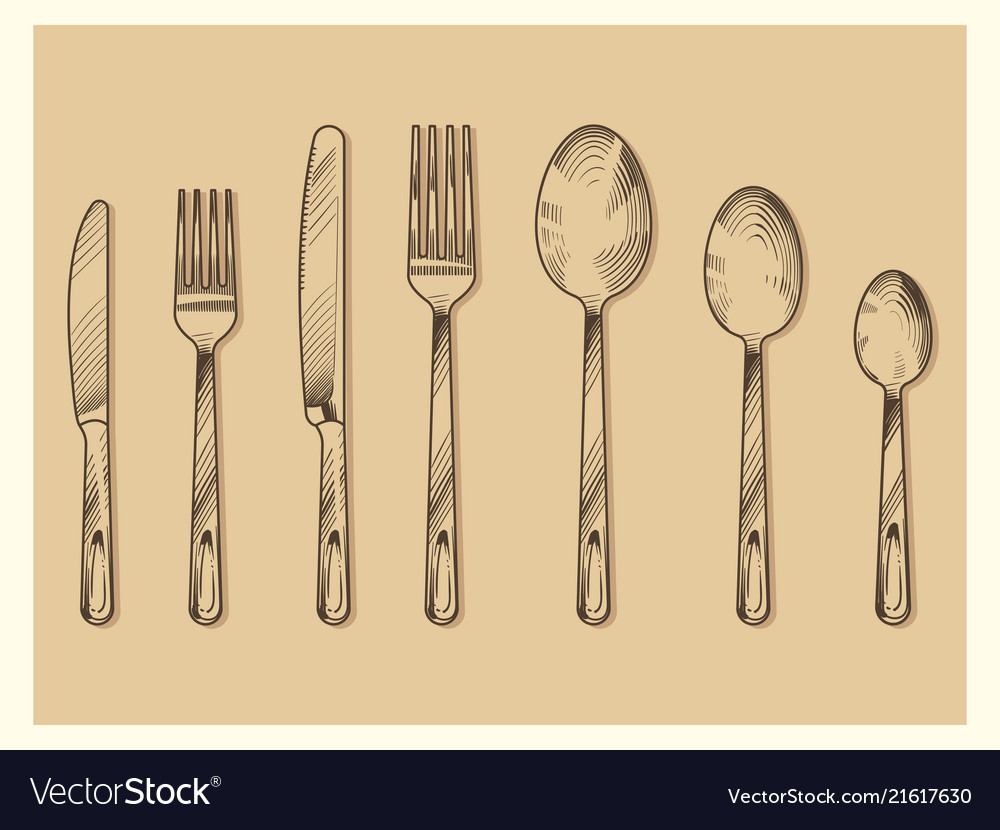 Vintage cutlery set design hand drawn