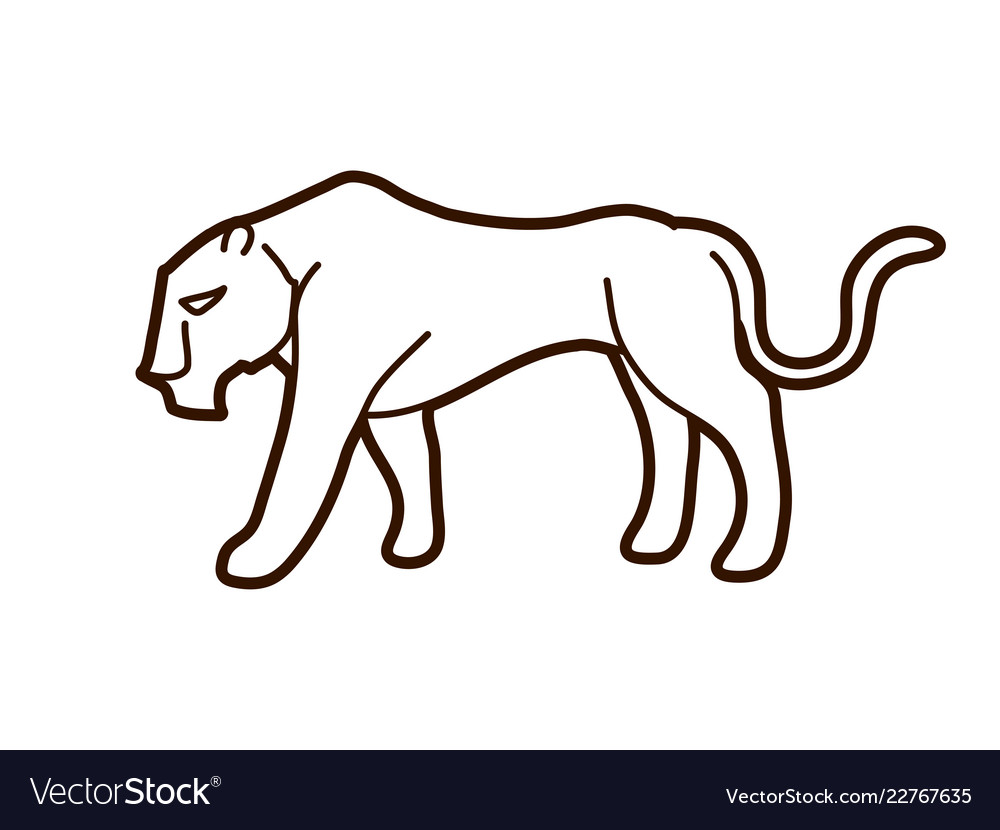 Black tiger or lioness graphic