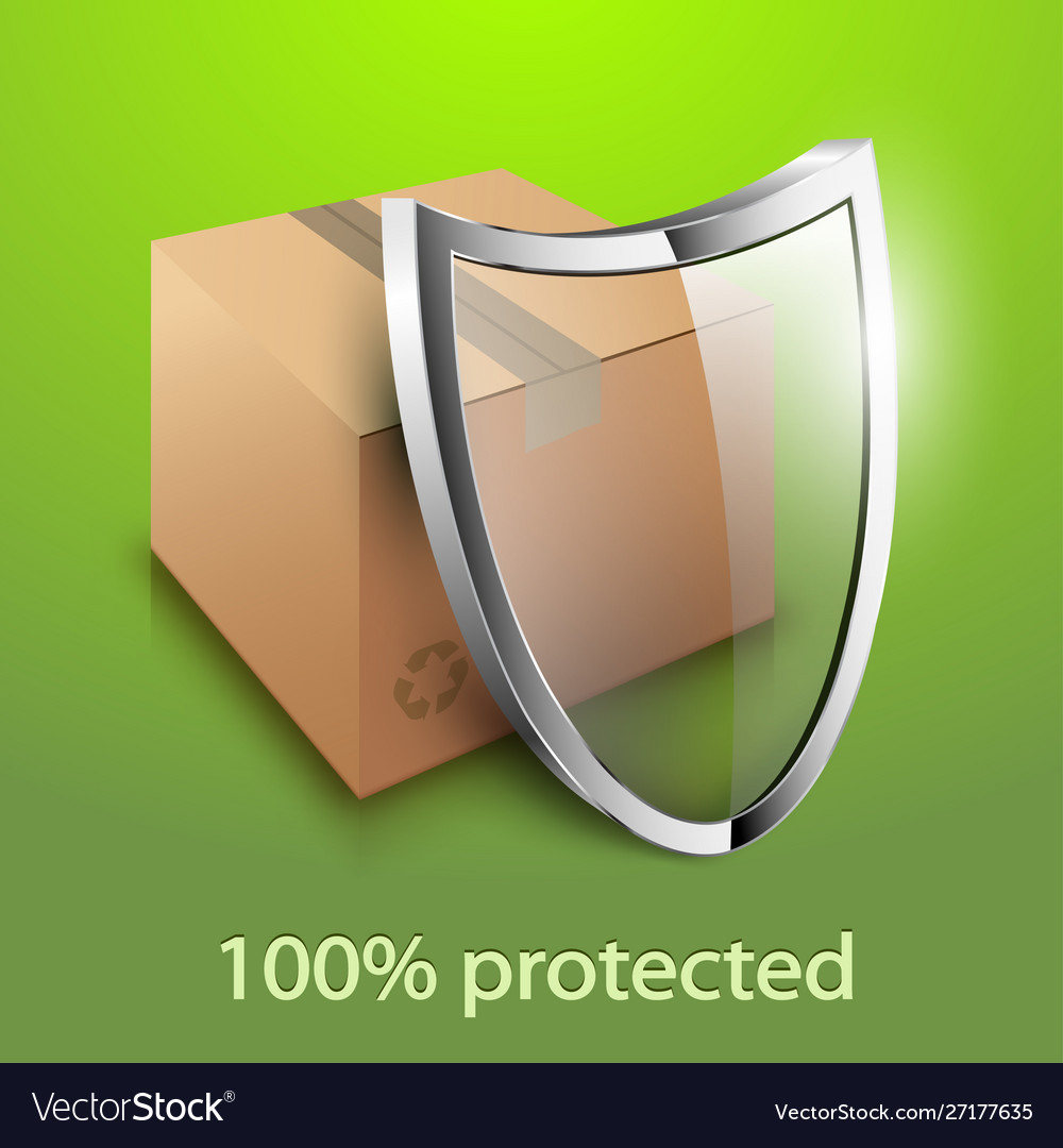 Cardboard box and glass shield icon