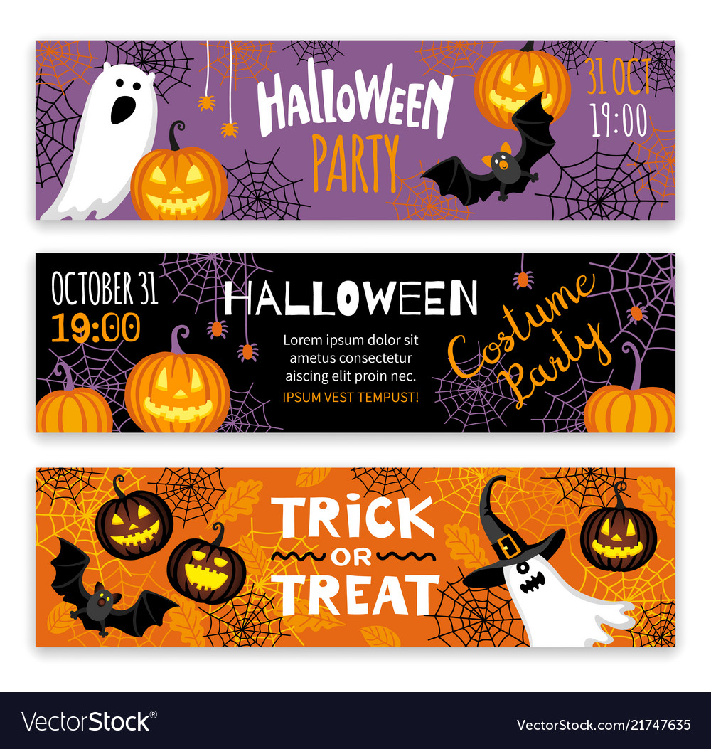 Collection halloween banner templates