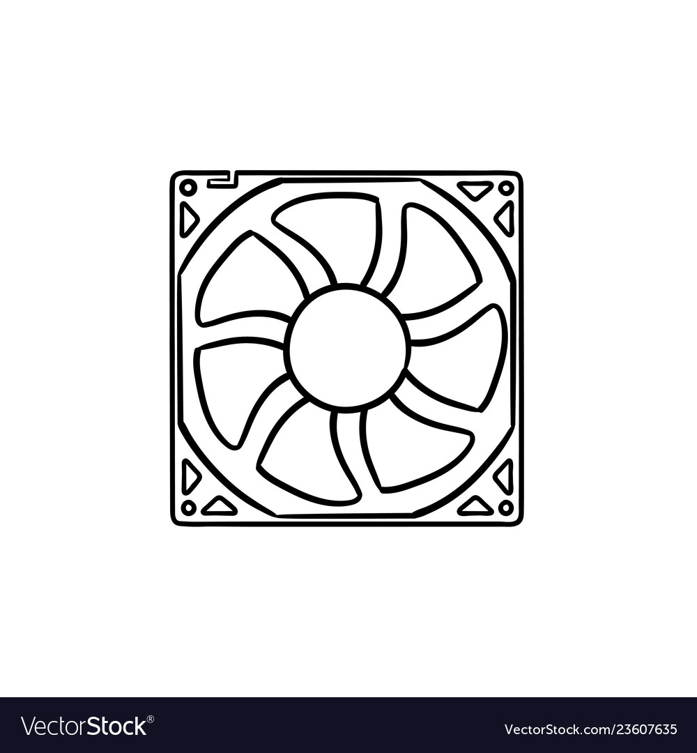 Computer fan hand drawn outline doodle icon