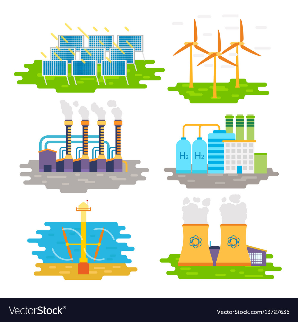 Energy producing stations infographic elements