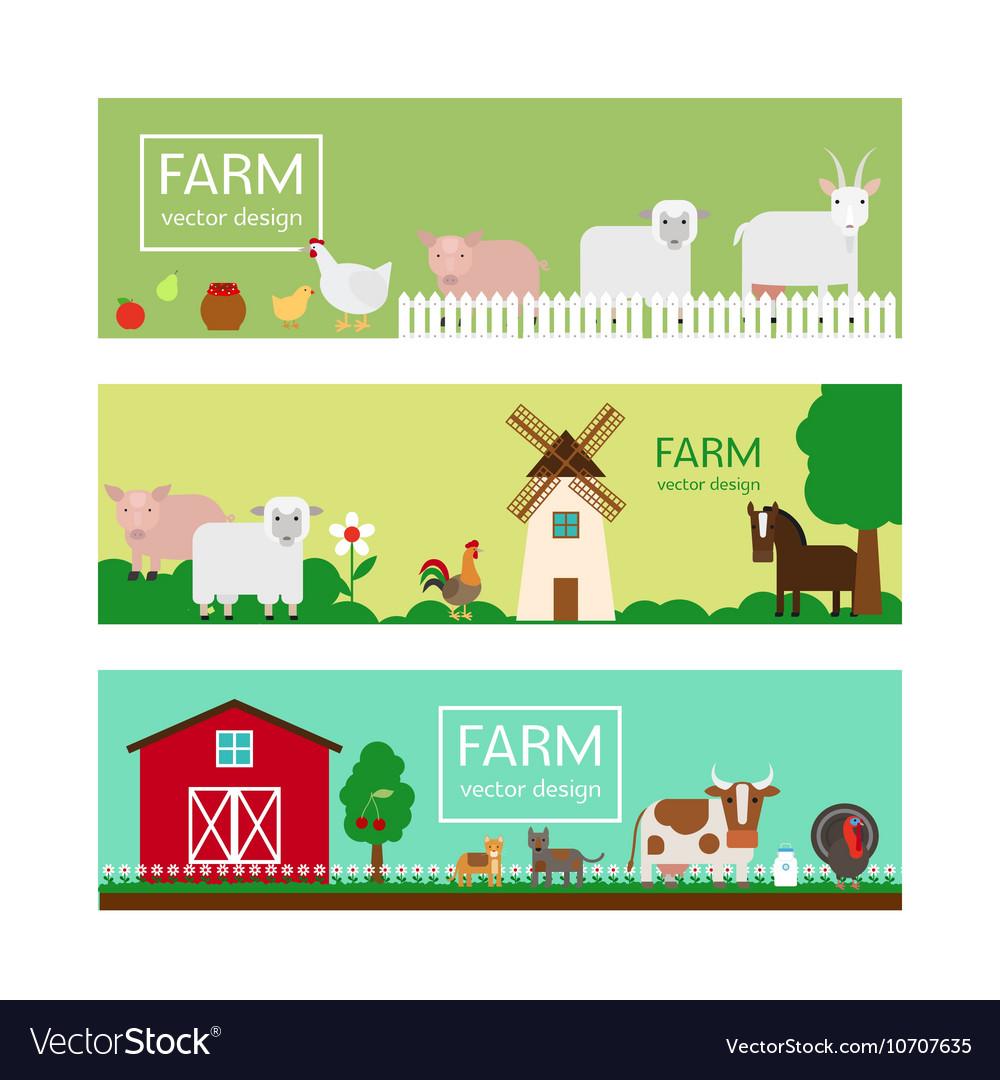 Farm animals flat style banner templates