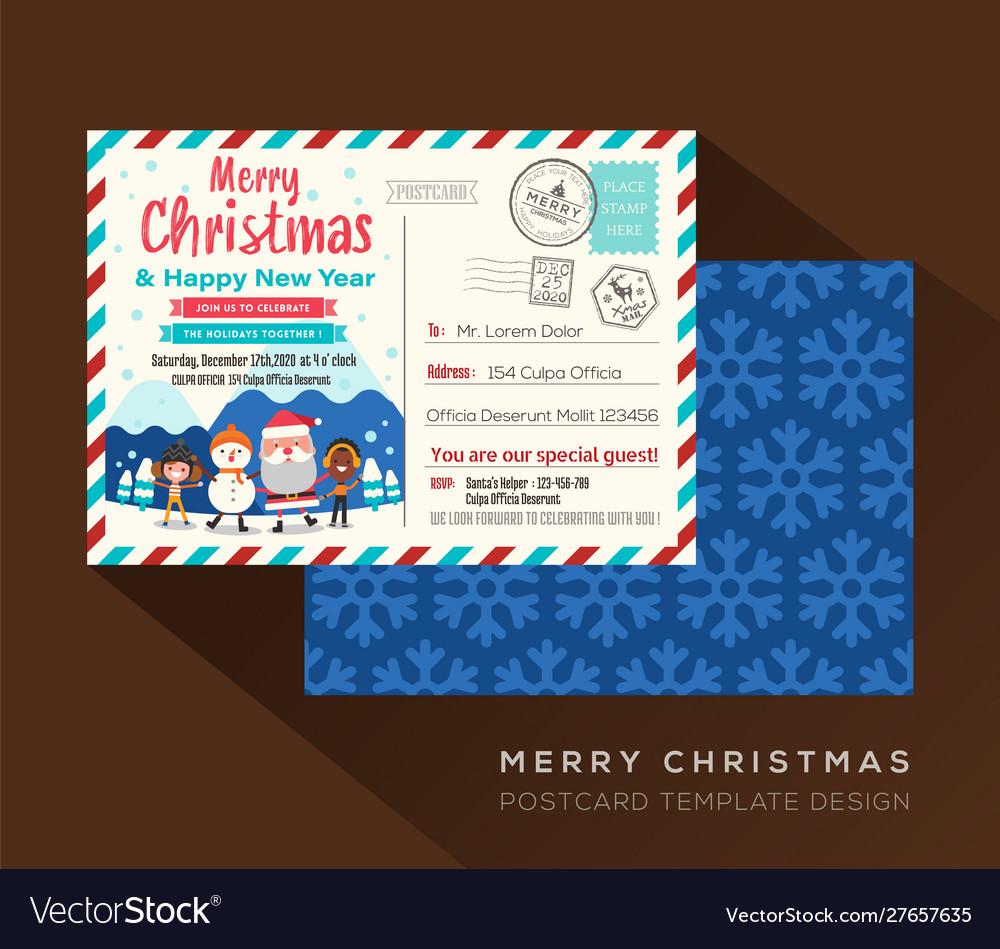 Merry christmas postcard invitation card design