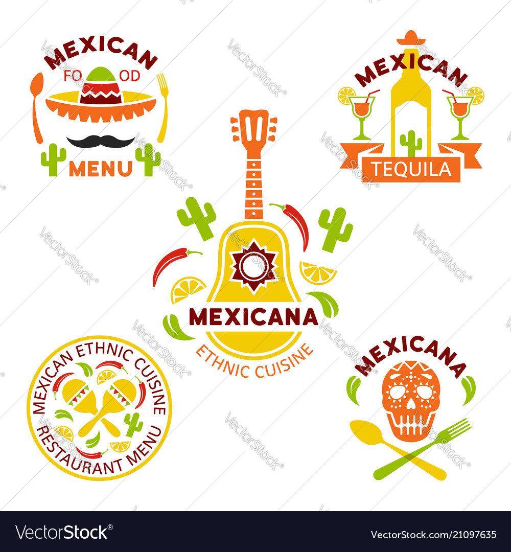 Mexican Ethnic Cuisine Colored Logos Royalty Free Vector