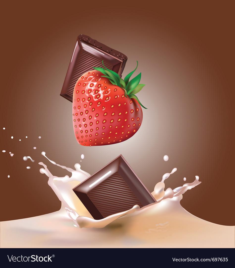 Milk and chocolate strawberries vector image