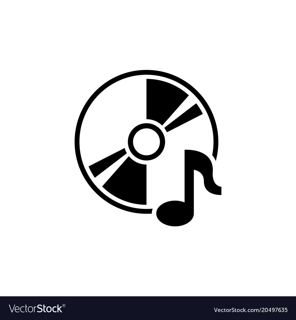 Music compact disk cd or dvd flat icon