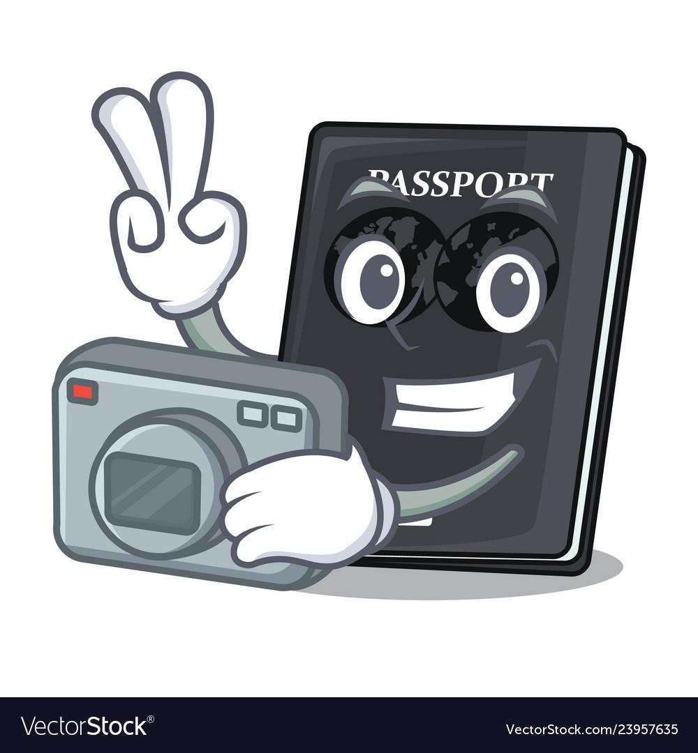 Photographer black passport on the mascot table